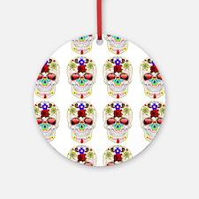 mexican sugar skulls white art Round Ornament
