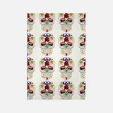 mexican sugar skulls white art Rectangle Magnet