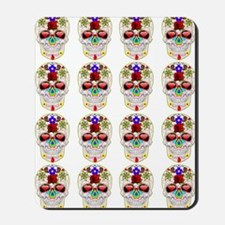 mexican sugar skulls white art Mousepad