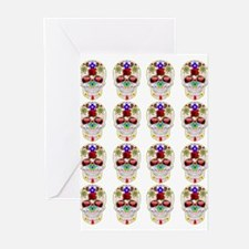 mexican sugar skulls white art Greeting Cards