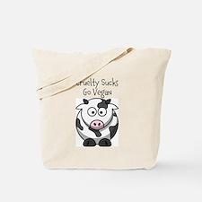 Cruelty Sucks Cow 'em Tote Bag