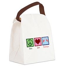 Peace Love Flamingos Canvas Lunch Bag