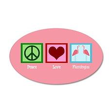 Peace Love Flamingos Wall Decal