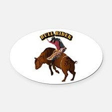 Cowboy - Bull Rider with Text Oval Car Magnet