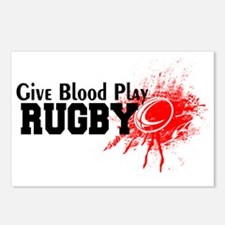 Give Blood Play Rugby Postcards (Package of 8)