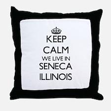 Keep calm we live in Seneca Illinois Throw Pillow