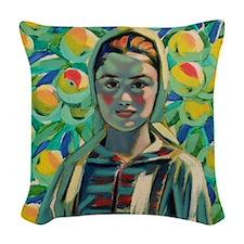 Peasant Girl Woven Throw Pillow