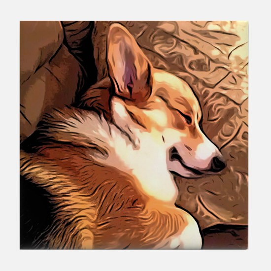 Sleepy Tricolor Corgi Tile Coaster