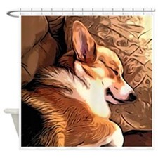 Sleepy Tricolor Corgi Shower Curtain