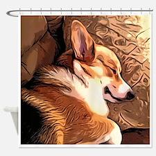 Sleepy Tricolor Corgi Shower Curtain