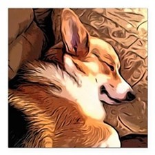 "Sleepy Tricolor Corgi Square Car Magnet 3"" x 3"""