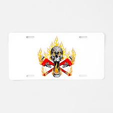 Flaming Plumber Skull Aluminum License Plate