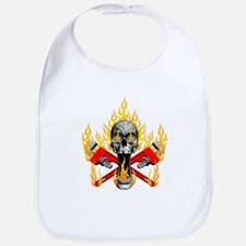 Flaming Plumber Skull Bib