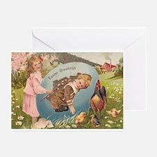 Vintage Easter Victorian Girl & Boy Greeting Cards