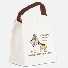 dog cone larry font 2.png Canvas Lunch Bag