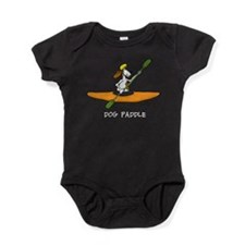 dog paddle 6 white letter.png Baby Bodysuit