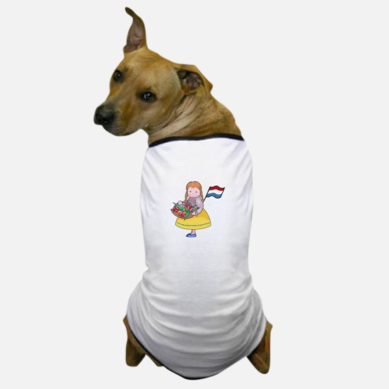 DUTCH GIRL WITH TULIPS AND FLAG Dog T-Shirt