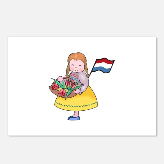 DUTCH GIRL WITH TULIPS AND FLAG Postcards (Package
