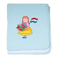 DUTCH GIRL WITH TULIPS AND FLAG baby blanket