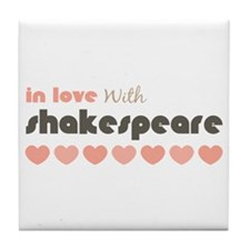 In Love With Shakespeare Hearts Pink Brown Coaster