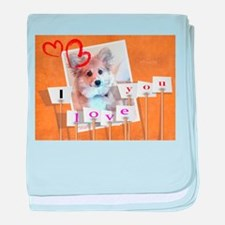 I love you Corgi Puppy baby blanket