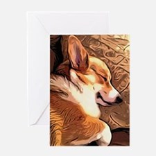 Sleepy Tricolor Corgi Greeting Cards