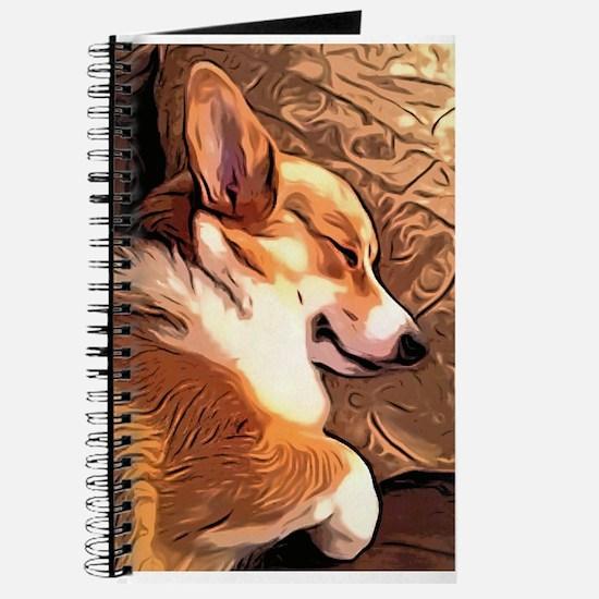 Sleepy Tricolor Corgi Journal