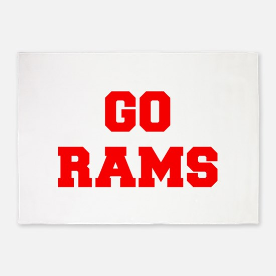 RAMS-Fre red 5'x7'Area Rug
