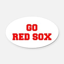 RED SOX-Fre red Oval Car Magnet