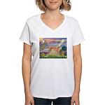 Cloud Angel & Greyound Women's V-Neck T-Shirt