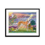 Cloud Angel & Greyound Framed Panel Print