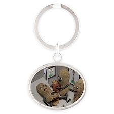 Funny Peanut  Oval Keychain