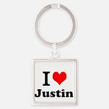 I Love Justin Keychains