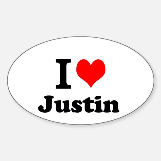 I Love Justin Decal