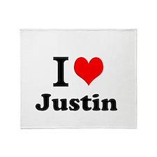 I Love Justin Throw Blanket