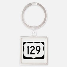 US Route 129 Square Keychain