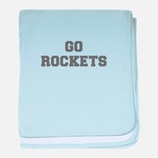 ROCKETS-Fre gray baby blanket
