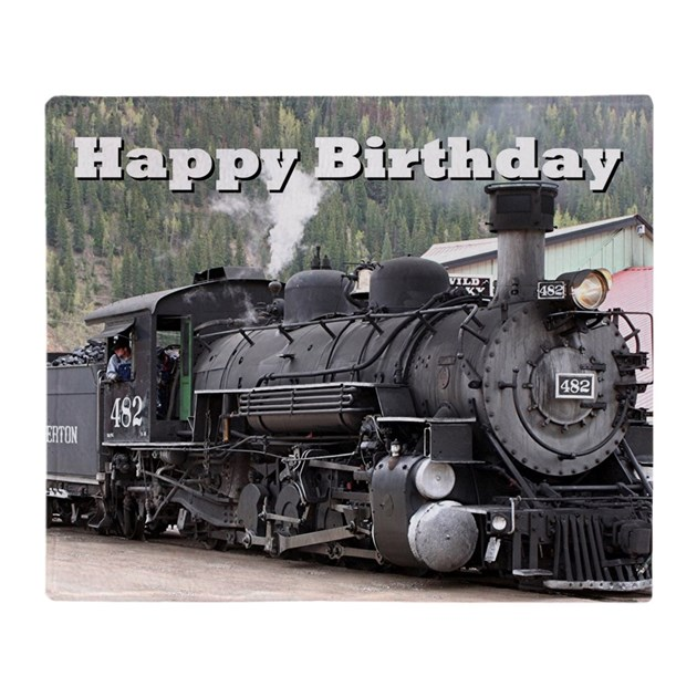 Happy Birthday Steam Train Engine Lo Throw Blanket By
