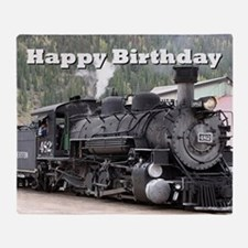 Happy Birthday Steam train engine lo Throw Blanket
