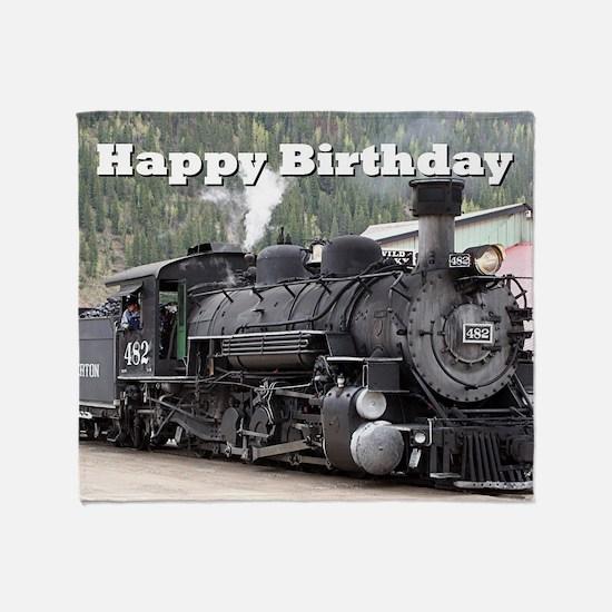 Happy Birthday Steam train engine lo Throw Blanket