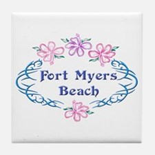 Fort Myers Beach: Flower Oval Tile Coaster