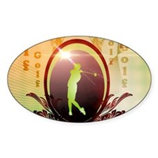 Golfer on a button with damasks decorated Decal
