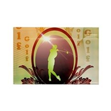 Golfer on a button with damasks decorated Magnets