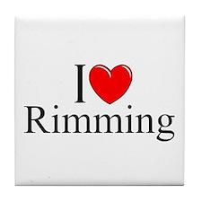 """I Love (Heart) Rimming"" Tile Coaster"