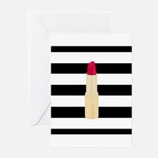 Red Lipstick Strioes Greeting Cards