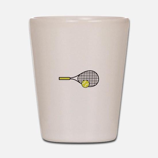 TENNIS RACQUET & BALL Shot Glass