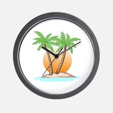 PALM TREES AND SUN Wall Clock