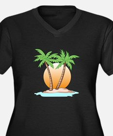 PALM TREES AND SUN Plus Size T-Shirt