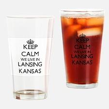 Keep calm we live in Lansing Kansas Drinking Glass