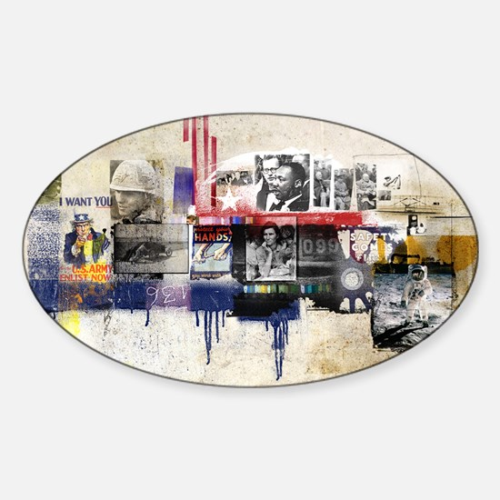 America in the 20th Century Collage Sticker (Oval)